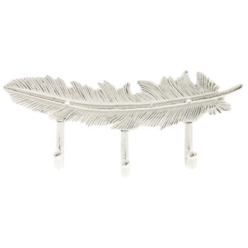 Feather Metal Wall Decor With Hooks